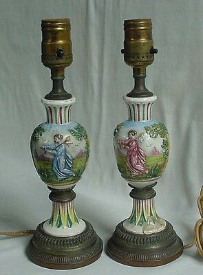 Lovely Pair Antique Porcelain Painted Decorated Lamps Pastoral Figures