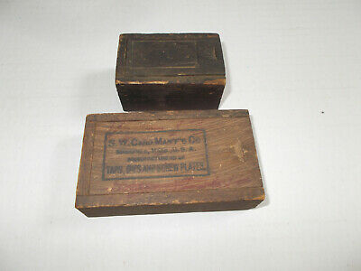 Lot of 2 Antique Wood Slide Top Miniature Small Box Dovetail Corners Patina