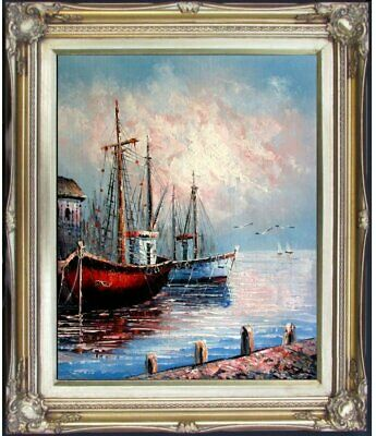 Framed, Seaport with Docking Boats, Quality Hand Painted Oil Painting, 16x20in