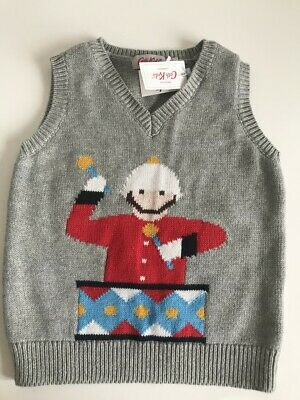 Cath Kidston boys marching band tank grey marl sleeveless jumper/top age 2-3year