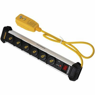Stanley 2 USB Surge Protected 6 Outlet Aluminium Powerboard