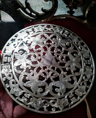 "Antique 6"" Webster Sterling Silver Overlay Glass Trivet Hot Plate"