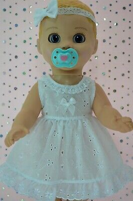 """Play n Wear Dolls Clothes For 17""""Luvabella Doll BRODERIE ANGLAISE DRESS~HEADBAND"""
