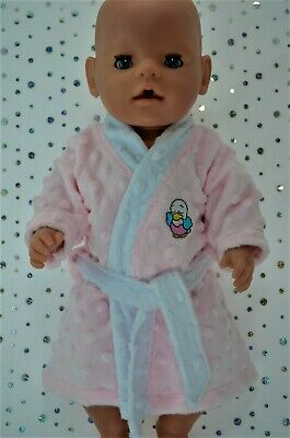 """Play n Wear Dolls Clothes To Fit 17"""" Baby Born PINK MINKY DRESSING GOWN"""
