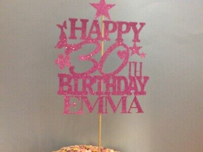 PINK Birthday Cake Topper Decoration personalised custom name Age flowers STAR