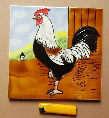 Beautiful Hand Painted Decorative Ceramic Tile Rooster Art Wall Hang