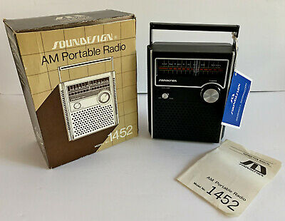 Vintage SOUNDESIGN 1452 Portable AM Radio MINT in Box w/ Instructions & warranty