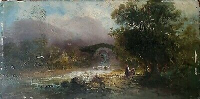 Franz E Krause 1836-1900 Oil Painting on Wood Ponte Della Maddalena Lucca Italy