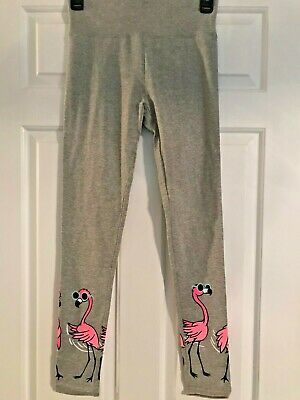 NWT Girls Justice Gray Full Length Leggings with Flamingo's