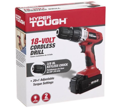 Hyper Tough 18-Volt Ni-Cad Cordless Drill With Rechargeable Battery And Charger