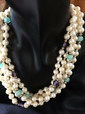 5 Strand 'GAY BOYER' Pearl Necklace, Ornate Clasp, Hallmarked,1960 Vintage