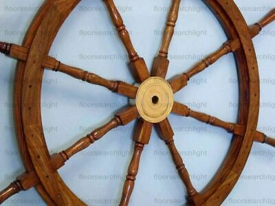 "New Nautical Wooden Ship Wheel Boat Steering Wall Decor Collectible 36"" Large"
