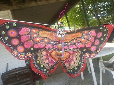Vintage Antique American Folk Art Paper Mache  Kite Butterfly Wall Art Decor Wow