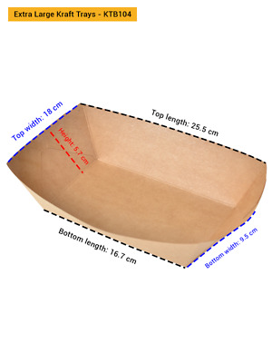 Brown Kraft Disposable Boat Trays Bulk Cafeteria |Parties| Cafe| Restaurants|