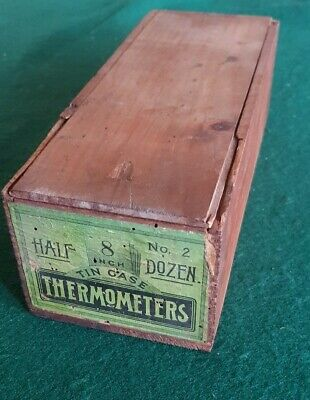Collectible Tin Thermometers Timber Dovetailed Box - antique
