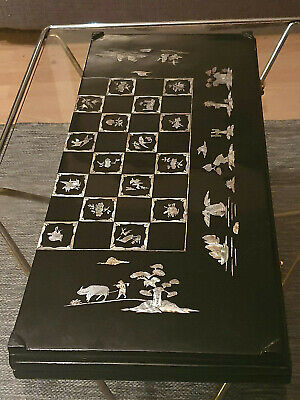 Exclusive antique chinese chess and backgammon board complete in a masterpiece