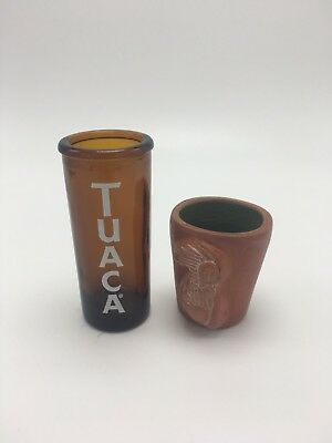 Set Of 2 Mexican Folk Art Pottery Tequila Shot Glasses