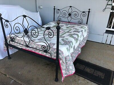 Antique Wrought Iron Bed Large Single Black with Brass balls Comes with Mattress