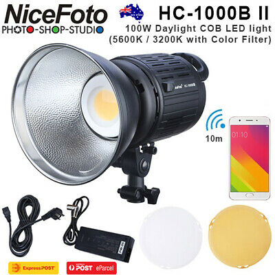 AU*Nicefoto HC-1000B II 100W Daylight COB LED Light(5600K/3200K w/ colour filter
