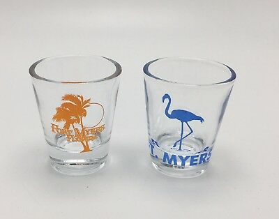 Lot Of Two - Ft. Myers Florida Shot Glasses - Flamingoes Palm Trees Beach