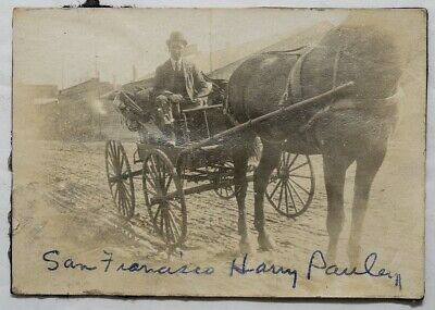 Antique Photo Named Man Horse Drawn Buggy San Francisco Muddy Street 1900's  Vtg