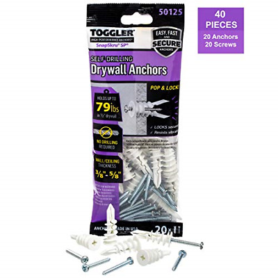 TOGGLER SnapSkru Self-Drilling Drywall Anchor, Pack of 20