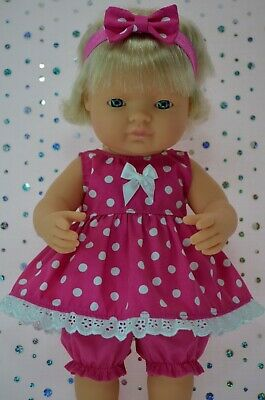 Dolls Clothes For 38cm Miniland Doll HOT PINK POLKA DOT DRESS~BLOOMERS~HEADBAND