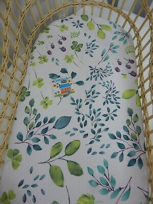 Bassinet Fitted Sheet Native Leaves Forest Floor Cotton  FITS STANDARD BASSINET