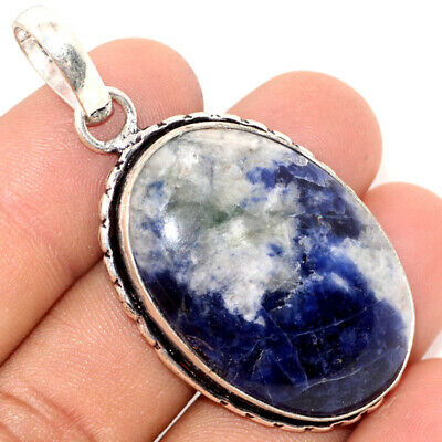 """F8263 Sodalite 925 Sterling Silver Plated Pendant 2"""""""