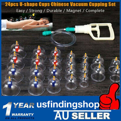 24 Cups Set Vacuum Massage Cupping Kit Acupuncture Suction Massager Pain Relief