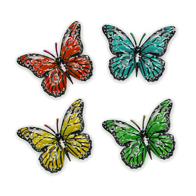 Set of 4 Decorative Garden Butterfly Fence Hangers for Outdoor Sheds Walls Fence