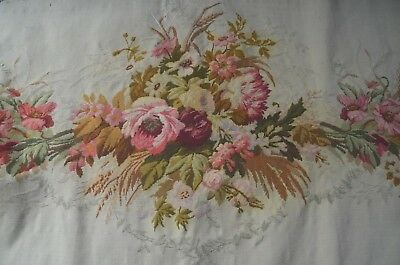 Antique French needlepoint tapestry, pink floral bouquets