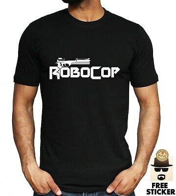 Robocop Gun Logo T-shirt Classic Retro 1980's Film Movie Unisex Mens Top S - 3XL