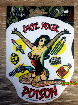 PIN UP GIRL DECAL STICKER PICK YOUR POISON retro vintage style tattoo flash art