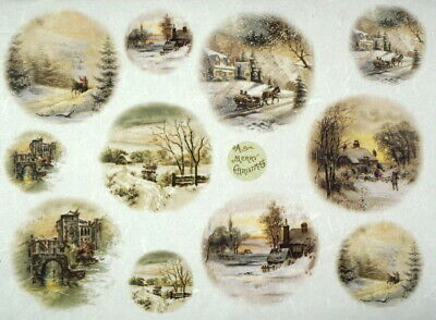 Rice Paper for Decoupage, Scrapbook Sheet, Craft  Winter Village