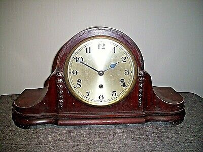 Antique Early 20th Century Mahogany Napoleon Hat Westminster Mantel Clock & Key