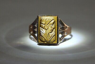 Late 1800's / Early 1900's Hand Carved Tiger Eye Cameo Ring 10K Rose Gold SZ 8