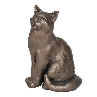 Frith Sculpture - Ellie - Sitting Cat in Bronze Resin by Paul Jenkins in Box
