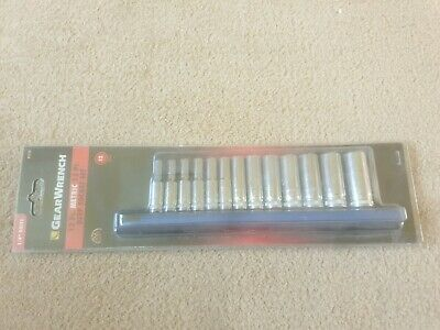 Gearwrench 13Pc 1/4 Drive Metric Deep 12Pt Socket Set 4Mm To 15Mm 80308