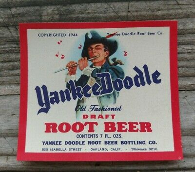 YANKEE DOODLE Root Beer Soda Bottle Label 1944 mint Original Oakland, California