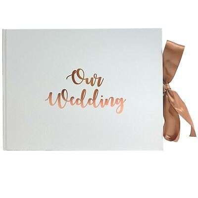 New! Rose Gold Guestbook OUR WEDDING Engagement Party Guest Book Keepsake Gift