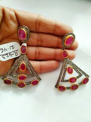 Rose cut Diamond Real Red Ruby Victorian 925 Sterling Silver Dangle Earring 423