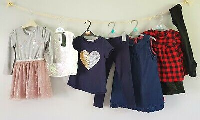 Girls Clothes Bundle Party Outfits Dress Tights Tops H&M NEXT & BNWT 3-4 years