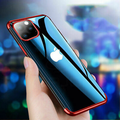 For iPhone 11 Pro Max XS XR Hybrid Plating Soft Silicone Hybrid Clear Case Cover