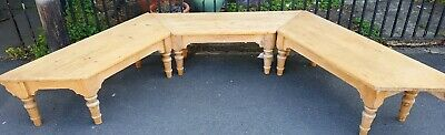 Bay Window Seat Bench Vintage Pine 3 Pieces Solid Pine Rustic Farmhouse