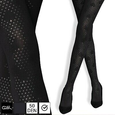 Gatta Women Warm Tights Opaque Pantyhose Mesh Pattern  Without Panty Part 50 DEN