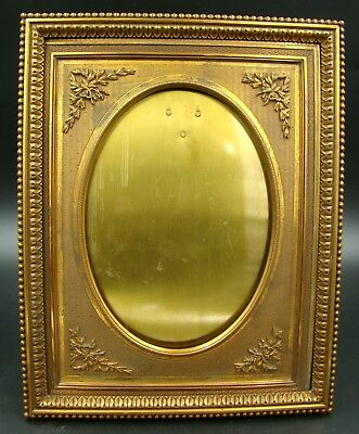 Impressive Antique French Empire Photograph Picture Frame Guilloche Gilt Bronze