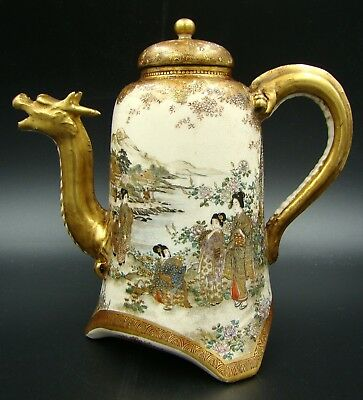 Highest Quality Japanese Meiji Satsuma Dragon Teapot Gold Signature Ultra Rare