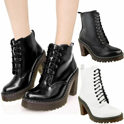 Womens Ladies Black Block Mid High Heel Chunky Ankle Boots Lace Up Classic Size