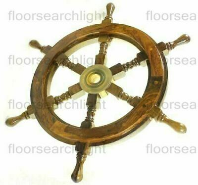 "18"" Antique Brass Wooden Ship 6 SPOKE Nautical Vintage Wall Decor Steering Wheel"